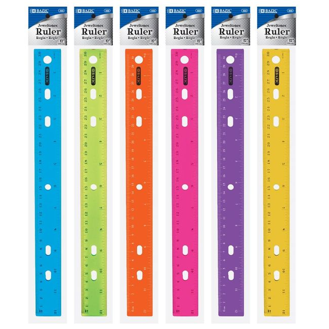 322-BAZIC 12 (30cm) Jeweltones Color Ruler