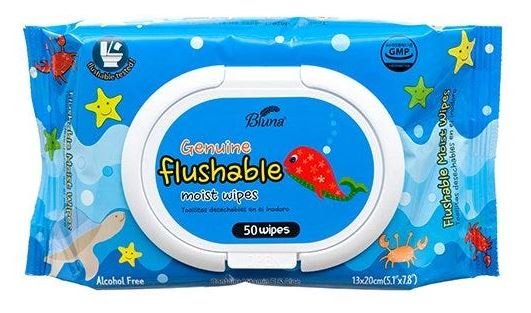 369831-BLUNA FLUSHABLE WIPES 50CT BLUE