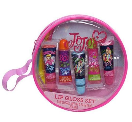 JJ03056-Jojo Siwa 5pk Lip Gloss in Round PVC bag