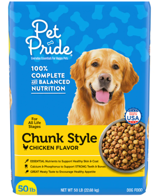 PET PRIDE 100% COMPLETE AND BALANCED NUTRITION CHUNK STYLE CHICKEN FLAVOR 50LBS