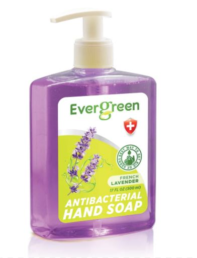 EverGreen Lavender Antibacterial Hand Soap 12x17 fl oz. Bottle w/ Pump