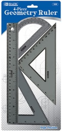 [284883] 335 BAZIC 4-PIECE GEOMETRY RULER COMBINATION SETS