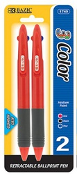 [328392] 1749-24  BAZIC Transparent 3-Color Pen w/ Cushion Grip (2/Pa