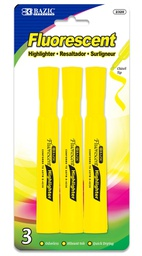 [373175] 2320-BAZIC Yellow Desk Style Fluorescent Highlighters (3/Pac