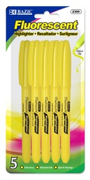 [373174] 2300-BAZIC Yellow Pen Style Fluorescent Highlighter w/ Pocke