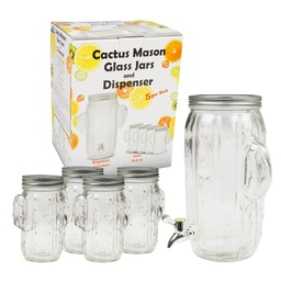 [408088] 31218-GLASS DISPENSER and JAR SET 5pc 3.5LT