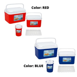 [425686] 32604/32605 COOLER SET 4pc RED PLASTIC / 4pc BLUE PLASTIC